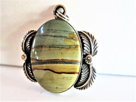 Sterling Silver Pendant, Agate Stone, Signed Denis, Vintage Pendant
