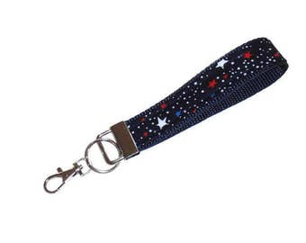 Key Fob Wristlet, Patriotic Key Holder, With Swivel Hook, Navy Blue Key Chain With Red and White Stars, Gift For Boys, Girls, Men or Women