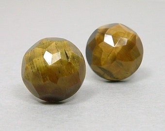 TIGERS EYE 12mm Faceted Cabochon Nickel Free Titanium Post Stud Brown Gold Gemstone Earrings Untreated