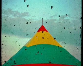 Retro Circus Tent Photograph Black birds and Big Top Carnival Tent Retro black borders Red Teal Yellow Wall art 8x8