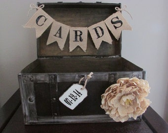 Rustic wedding Card Holder with Wooden Date Tag and Burlap Card  Wedding Card Box Country Wedding Decoration B1B