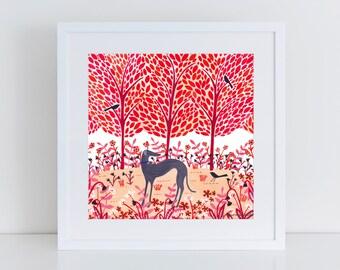 Autumn Greyhound Art Print   Giclee Print   Illustration   Woodland Scene   Dog Print   Dog Art   Dog Lover Gift