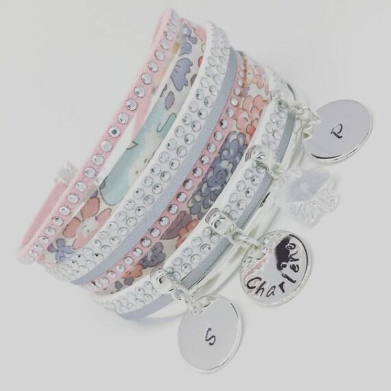 Bracelet Liberty personalized pink powder Liberty of London & Swarovski - 3 prints