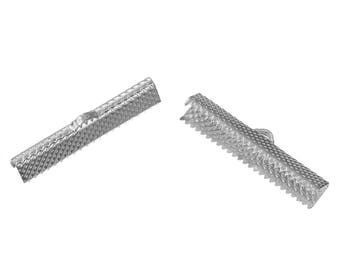 10 Ribbon Crimp Ends - Antique Silver - 30x8mm - Tesctured - Ships IMMEDIATELY from California - F441