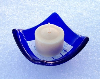 Glass Votive Candle Holder - Dish - Salt Bowl - Cobalt Blue with Clear Center - Home Kitchen Decor - Jewelry Dish Handmade