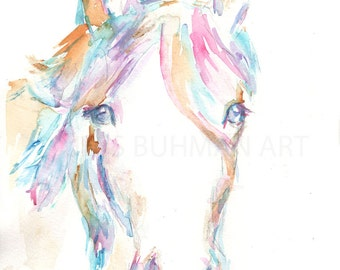 Horse Watercolor Painting Print, Print of Horse, Horse Painting, Watercolor Horse, Horse Art, Abstract Horse Painting, Animal Art