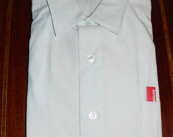1960s Manhattan Man Prest White Long Sleeved Dress Shirt Size 16 1/2 4 Permanent Pressed