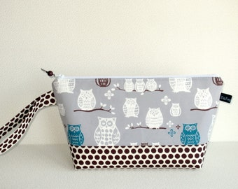Wedge Bag, Small-Project Knitting Bag, Owls and dots