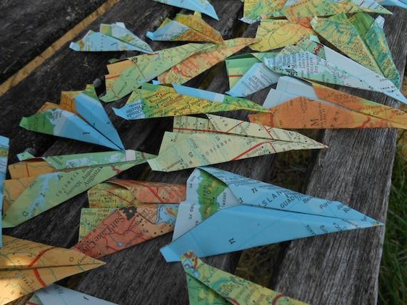 Paper Airplane CONFETTI, Vintage Maps. Escort Cards, Wedding Decoration, Party, Birthday, Travel Wedding. Custom Orders Welcome. Globe