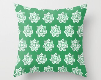 Spring Pillow Cover, Pressed Flowers pillow cover, green pillow cover, spring decor, flower decor, floral pillow cover