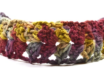 Woman Cotton Headband...Wide Lace Hair Band..Crochet Autumn Head Band