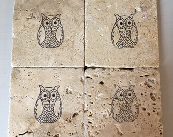 Owl stone coaster set