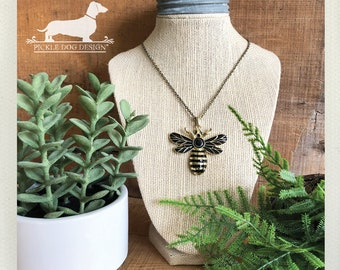 Queen Bee. Necklace -- (Vintage-Style, Insect, Bug, Bumblebee, Simple, Cute, Honey Bee, Hornet, Unique, Two-Toned, Summer, Gift Under 15)