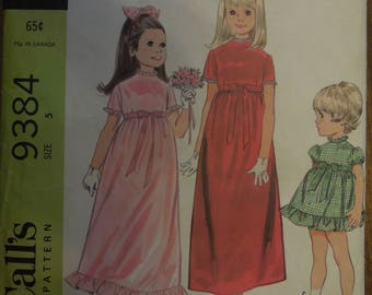 McCalls 9384, size 5, dress for special occasions, children's, sewing pattern, craft supplies