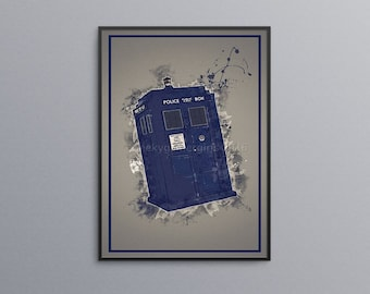 Tardis Poster | Doctor Who poster | Watercolor print | Dr Who poster | geek gift