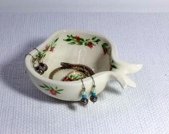 Ring dish Ring Tray, Pomegranate shape ceramic ring dish, Ceramic ring tray, Catch all Jewelry tray, Jewelry dish, Ring holder Gift under 20