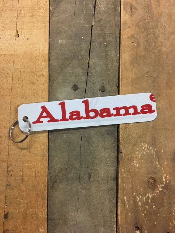 Alabama License Plate Keychain - Key Ring Key Chain - stars fell on (Rustic Apple Art seen in Country Living Mag)