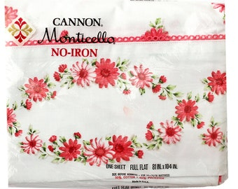 Vintage Sheet, Pink Daisy, Cannon Monticello, Vintage Full Flat Bed Sheet, Pink Daisies, Vintage Daisy Sheet, Floral Flowers, Mid Century