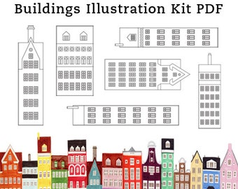 DIY Scandinavian Buildings and Houses Printable Illustration Art Craft Kit PDF 8.5 x 11
