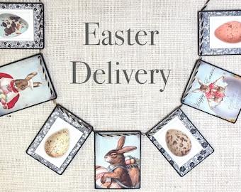 EASTER DELIVERY Garland--Easter banner, Easter decor, Spring decor, Easter Bunny, Easter gift, Easter Basket, Easter eggs, Nursery decor,