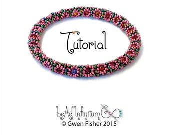 TUTORIAL Daisy Chain Cable Beaded Bangle Bracelet and Earrings Angle Weave