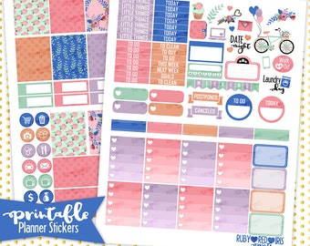 Vintage love | PRINTABLE Planner Stickers | Pdf, Jpg, Silhouette Studio V3 Format | eclp Vertical Planner Stickers