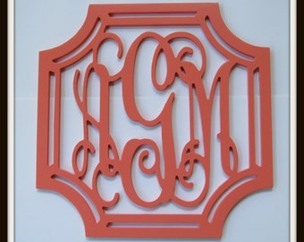 """Wooden Wall Monogram - Painted Letters - 20"""" x 20"""" - Wood Monogram-  Wall Decor"""