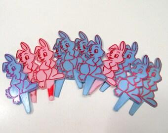 Vintage Easter Cupcake Pick Set of 11/ Cupcake Topper/Blue Pink Rabbit/ Vintage Plastic Pick Set