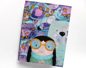 Handmade journal. Teddy. Art Journal Small. Original mixed media cover. Watercolour paper journal