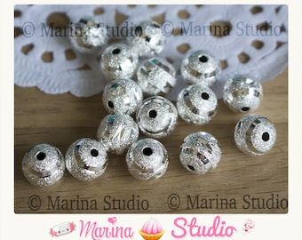 10 frosted silver 10mm MS03536 stardust beads