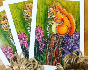 Whispers the squirrel thief A5 greeting card nature wildlife surreal illustration drawing whimsical fairytale Enchanted fantasy original