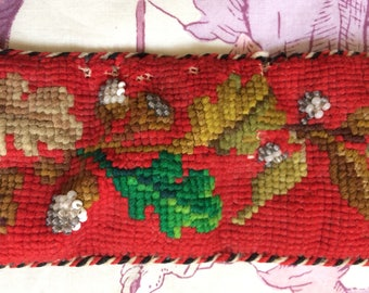 Antique needlepoint folk embroidered tyrolian belt