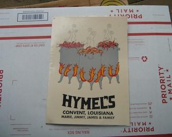 Restaurant menu from Hymel's Convent, Louisiana Marie, Jimmy, James & family