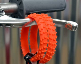 2 ORANGE KNOBBY Dirt Bike Tire Wristbands