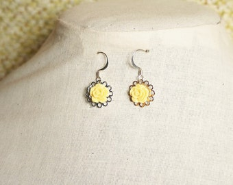 Handmade Yellow Earrings Yellow Rose Earrings Yellow Flower Earrings Yellow Flower Dangle Yellow Dangle Earrings Yellow Bridesmaids