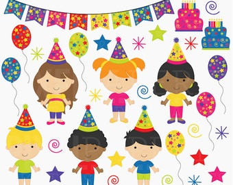 birthday clipart clip art kids children - Birthday Kids Digital Clip Art - BUY 2 GET 2 FREE