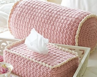 Cozy CROCHET PATTERN Bolster Pillow & Boutique Tissue Cover