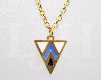Geometric Triangle Blue and Gold Chain Handmade Necklace