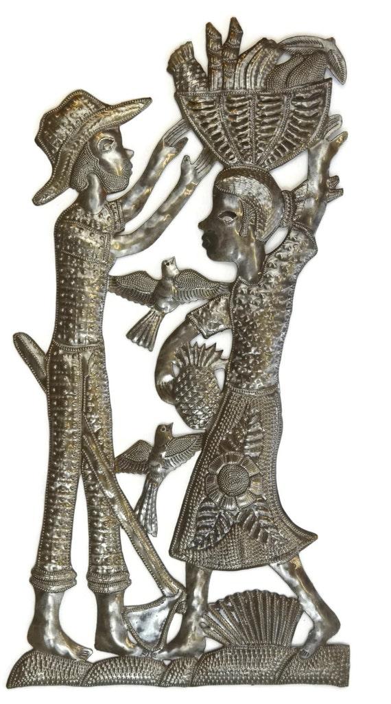 "Haiti Family At Work, Wall Metal Sculpture Garden Patio Decor 12.25"" X 23.75"""