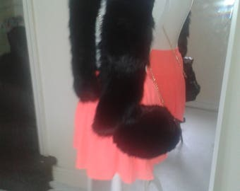 big thick furry scarf black new