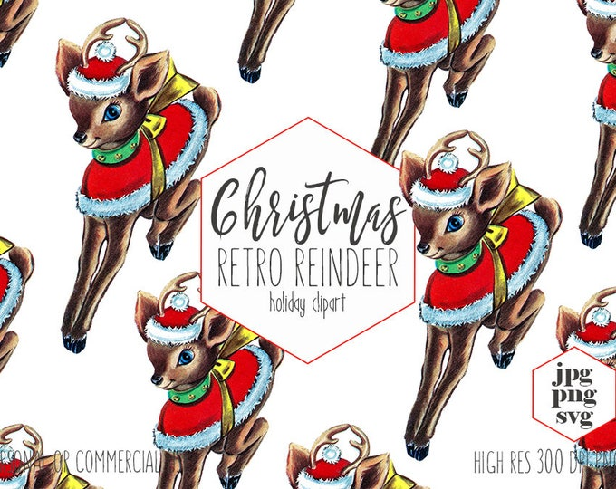 RETRO REINDEER Clipart for Commercial Use Cute Christmas Clip Art Vintage Santa Reindeer with Hat Holiday Vector Digital Graphics for Kids
