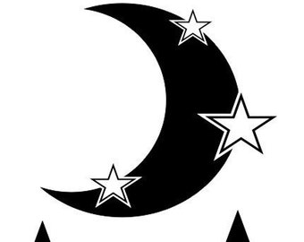 Moon and Stars - Vinyl wall decal