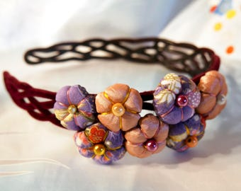 Headband - Pink Purple - Tsumami Kanzashi flowers headband