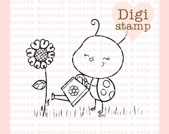 Garden Bug Ladybug Digital Stamp for Card Making, Paper Crafts, Scrapbooking, Hand Embroidery, Invitations, Stickers, Cookie Decorating
