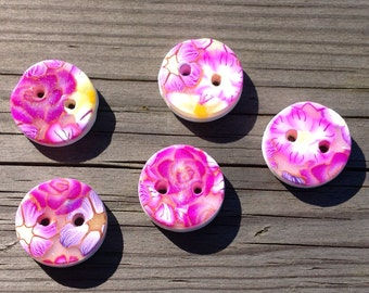 Purple Flowers - hand-made polymer clay- buttons from Phat-box April-14