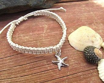 Braided beach bracelet starfish charm bracelet starfish bracelet hippie vegan boho beach gift adjustable cord macrame bracelet.