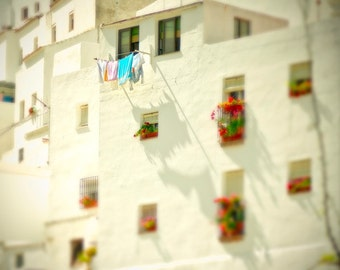 Spain Photography -After Enlightenment, The Laundry - Fine Art Photograph, white