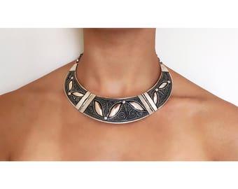 Sterling Silver Necklace, Tribal Choker Necklace, Moroccan Jewelry, Boho Necklace, Handmade Necklace, Bohemian Necklace, Gypsy Necklace,