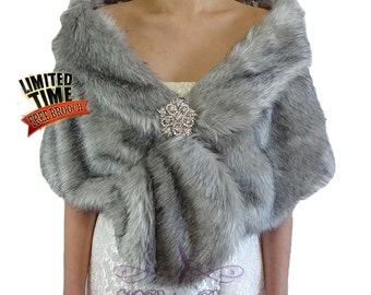 Faux Fur Stole, Grey Chinchilla Faux Fur Wrap, Bridal Shawl, Wedding Fur Stole, Bridal Wrap, Bridal Fur Shrug FS108-GREYCHIN
