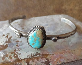 Fred Harvey Era Sterling Silver and Turquoise Cuff Bracelet
